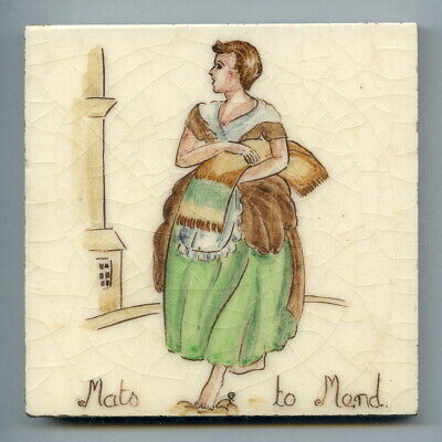 """Handpainted 4""""sq tile from the """"London Cries"""" series by Packard & Ord c1950"""