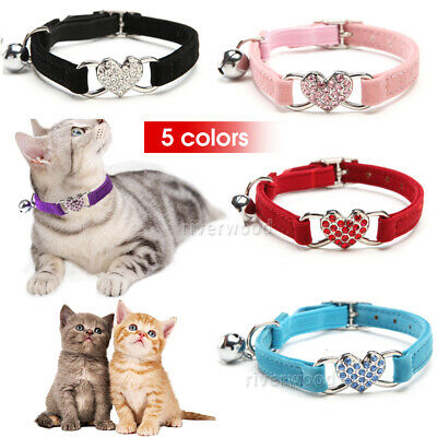 Adjustable Heart Bling Suede Collar Cat Kitten Dog Puppy Pet Safety Collar AU