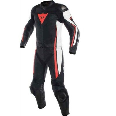 Dainese Assen Perf 2 Piece Leather Motorcycle Suit White/Red