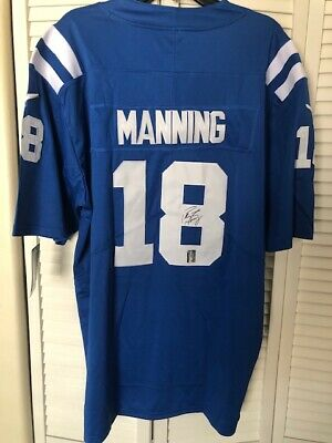 wholesale dealer 5b8d6 a1456 PEYTON MANNING SIGNED BLUE Jersey Indianapolis Colts with MANNING Hologram
