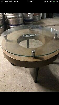 5x Carling Branded Glass Top Rounded Drinks Tables Pub Bar Furniture