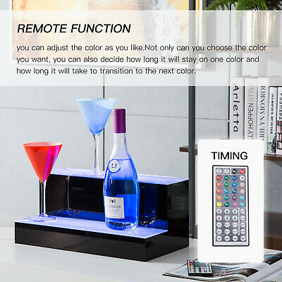 "16"" 2 Step Tier LED Lighted Shelf Illuminated Liquor Bottle Bar Display Stand"