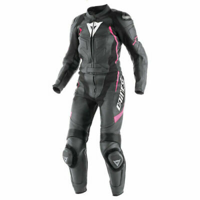 Dainese Avro D1 Ladies 2 Piece Leather Motorcycle Suit Black/Pink
