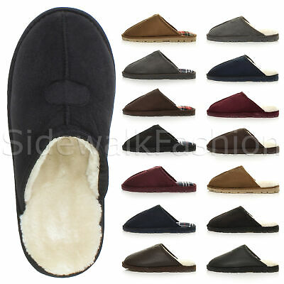 Mens low heel hard sole warm fur checked lined luxury gift mules slippers size