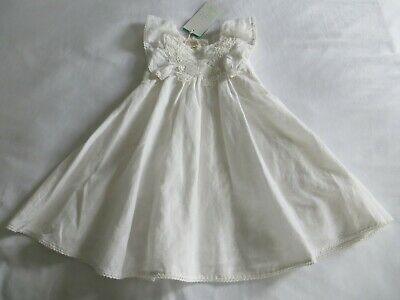 BNWT Girls Monsoon Baby Maud Ivory Linen Blend Butterfly Dress Age 12-18 mnths