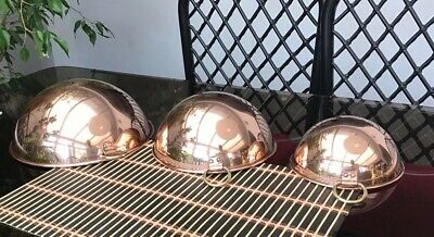 3 GRADUATED Vintage ROUND DOMED SHAPE Copper Mold WITH BRASS RING HANGING HOOKS