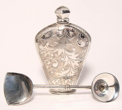 Vintage Sterling Silver Perfume Bottle with Funnel/Scoop ORNATE ENGRAVING!