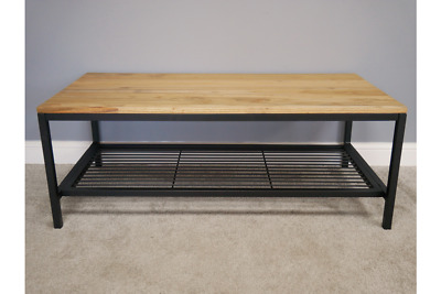Industrial style wooden coffee table with elm wood top
