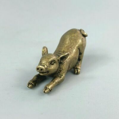 Rare Collectible Old Brass Handwork Chinese Antique Fortune Golden Pig Statue