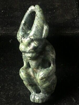 Chinese old natural Nephrite jade hand-carved hongshan *Sun god* pendant XO421