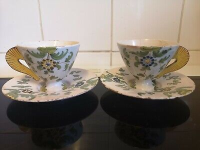 Antique Italian Cantagalli Majolica Tin Glaze Pair of Cups and Saucers Cockerell
