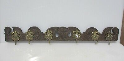 "Antique Carved Wooden Coat Rack Hat Hanger Old Wood Antique Brass Hooks 36""W"