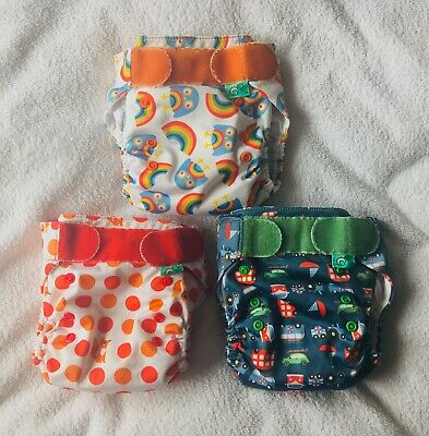 3 x TOTS BOTS EASY FIT CLOTH ALL IN ONE BIRTH TO POTTY NAPPIES Rare FRUGI Prints