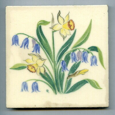 """Handpainted 4""""sq tile from the """"Spring Flowers"""" series by Packard & Ord, 1951"""