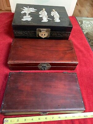 3 Vintage Chinese Jewelry Box (1 Black Lacquer Jade Mother Pearl + 2 Rose Wood)