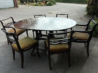 Bristow & Townsend 6 seat gate-leg Mahogany Dining Table and 6 chairs, 2 carver