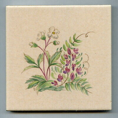 """Handpainted 4""""sq tile from the """"Wild Flowers"""" series by Packard & Ord, c1956"""