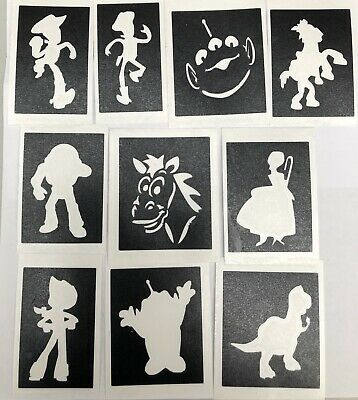 10 X stencils Toy Story WOODY BUZZ Top up ur glitter tattoo kit face painting