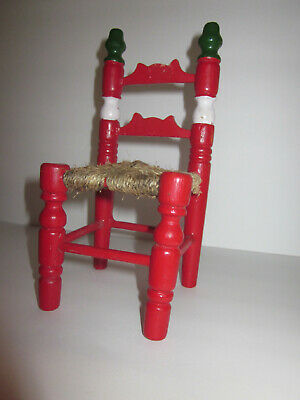Miniature doll furniture red white green painted wood chair woven twine seat Mad