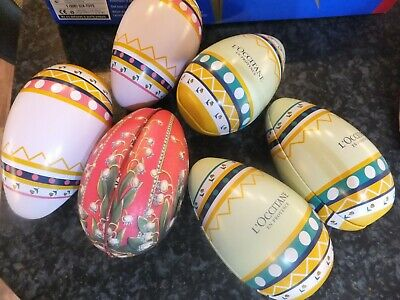 6 x Decorative easter egg tins, 5 are L'occitane and 1 decorated, all open