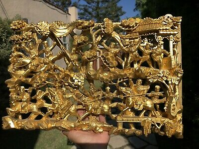 BIG Antique Chinese Carved Gilt Gold Wood Panel Warriors on Horses Art Sculpture