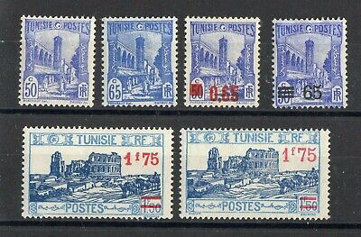 TUNISIE: SERIE COMPLETE DE 6 TIMBRES NEUF* N°181/184ab Cote: 20,50 €