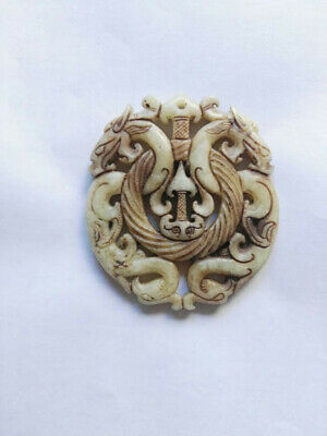 Chinese old jade Hand carved double dragon Amulet Pendant