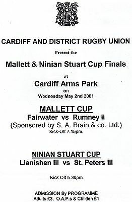 May 2001 MALLETT & NINIAN STUART Cup Finals at Cardiff Arms Park