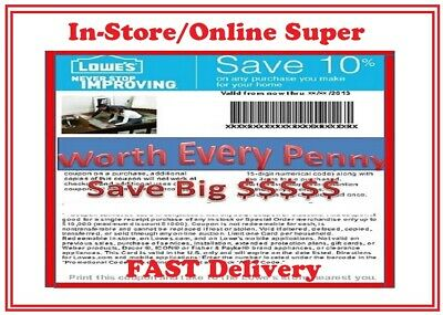 SAVE NOW!!! Lowes 10% OFF Coupon In-Store/Online Super FAST Delivery