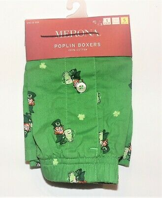 Merona Mens Poplin Boxers St Patricks Day Leprechaun Beer Size Small 28-30 NWT