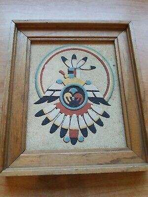 Vintage Native American Indian Rainbow Way New Mexico Sand Picture Thunderbird