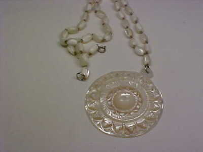 Vintage Carved Mother of Pearl Necklace/Pendant