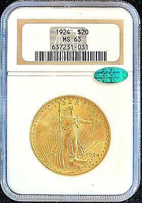 1924 - $20 American Gold Double Eagle - Saint Gaudens - MS63 NGC - Certified CAC