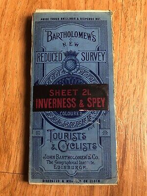 vintage bartholomews reduced survey inverness and spey map on cloth Scotland