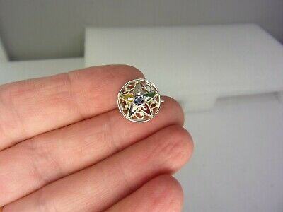 Vintage Masonic Eastern Star 10K White Gold Pin with Gemstones Not Scrap 1.9G