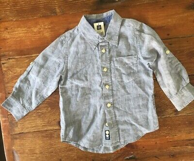 Baby Gap 4T New 100% Linen Chambray Button Down Shirt