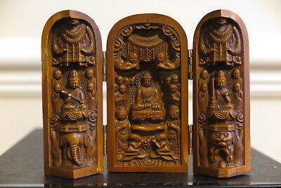 Vintage Wooden Hand Carved Figure Of Buddha