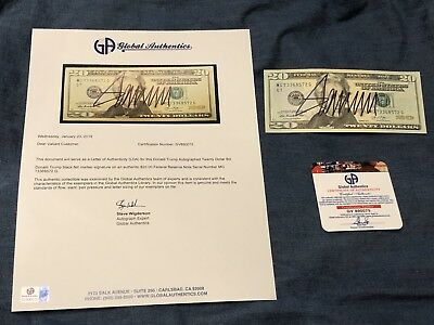 President Elect Donald Trump Hand Signed $20 Bill Us Currency Autograph Gai Coa