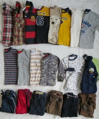 Baby GAP Gymboree Old Navy Boys LS Shirts Pants PJs 21 Piece Lot Fall Winter 2T
