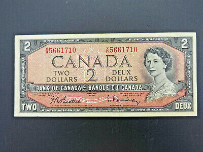 1954 $2 Dollar Bank of Canada Banknote X/R5661710 Beattie Rasminsky Modified VF+
