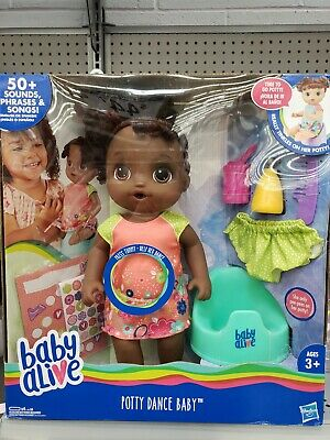 Hasbro Baby Alive Potty Dance Talking Phrases Songs Baby Doll Black Curly Hair