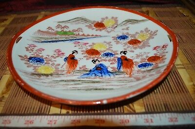 "Asian Porcelain Orange Floral Cake Plate Handpainted Geisha Girls  9 5/8"" Marked"