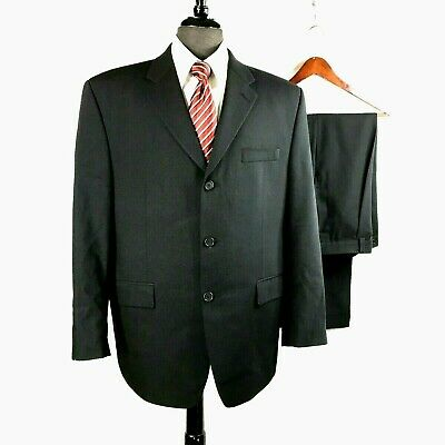 Calvin Klein mens Navy Blue wool suit w pleated cuffed pants 42S to 44S