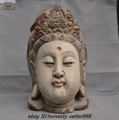 """19"""" Antique Chinese Temple Old wood carved Guanyin Kwan-yin buddha head Statue"""