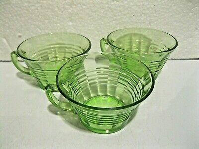 Vintage Lot Of 7 Green Uranium Glass Cups & One Signed Fenton Saucer