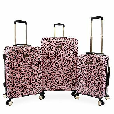 Juicy Couture Women's Jane 3-Piece Hardside Spinner Luggage Set Pink Leopard
