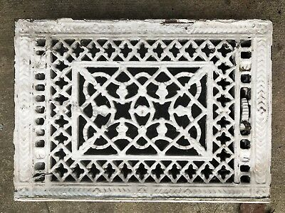 Antique Ornate Cast Iron 14x10 Victorian Cold Air Return Floor Grate Register
