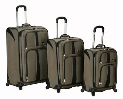 Rockland Luggage Eclipse Spinner Polo Equipment 3 Piece Luggage Set Khaki One...