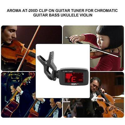 Aroma AT-200D Clip On Guitar Tuner for Chromatic Guitar Bass Ukulele Violin WT