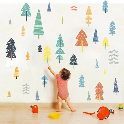 Pine Tree Woodland Forest Wall Sticker Kids Room Playroom Vinyl Mural Wall Decal